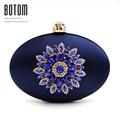 Botom Brand Good Quality Luxury Crystal Diamond Flower Fashion Silk Oval Round Evening Bag Ladies Handbag Wedding Clutches Purse