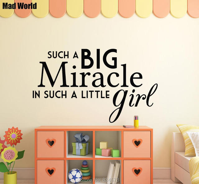 Mad World Such A Big Miracle little Girl Wall Art Stickers Wall ...