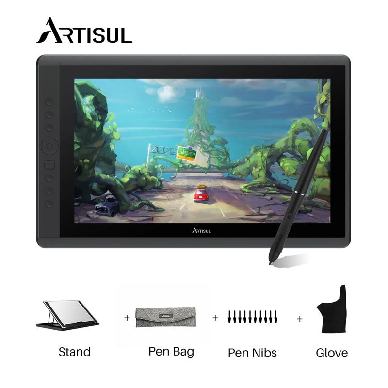 Artisul D16 15.6 pouces tablette graphique moniteur sans batterie stylo 8192 levier pression stylo dessin tablette affichage moniteur et cadeau