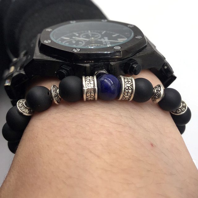 Men Bead Bracelet 2019 Fashion New Simple Vintage Stone Bead Charm Bracelets & Bangles For Men Classic Jewelry Gift