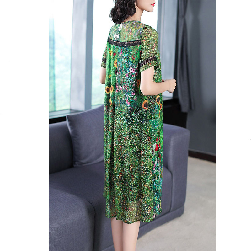 Image 5 - Vintage Peacock Green Silk Dress 2018 Floral Print Summer Dresses Plus Size M 3XL Gown Lace Stitching Short Sleeve Robes-in Dresses from Women's Clothing