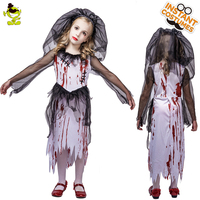 Kid's bloody horror zombie bride costume stage costumes masquerade vampire costumes
