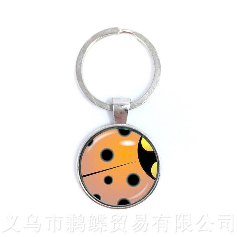 New Miraculous Ladybug Cartoon Pendant Key Chains Comic Women Jewelry Round Keyring Men Women Girls For Children Gift