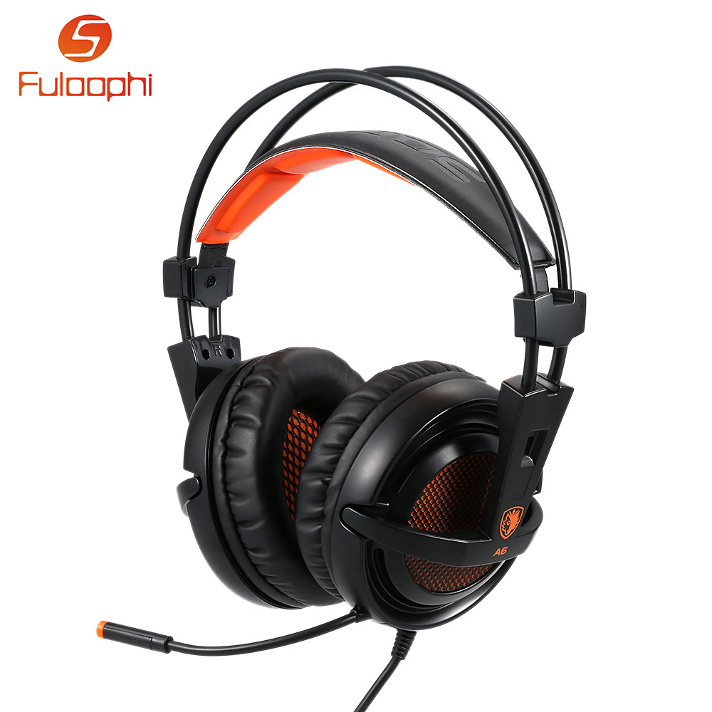 ФОТО Fuloop A6 7.1 Surround Sound USB Gaming Headphones Professional Over-Ear Game Headset Noise Isolating with Mic for Computer Game