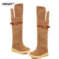 AREQW Winter Flat Knee Boots Woman Belt Buckle Long Plush Tall Tube Large Size Snow Boots