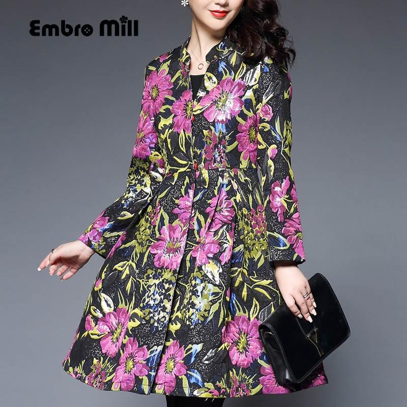 Casual-womens-clothing autumn vintage women loose trench coat plus size elegant lady print floral windbreaker female S-XXXL