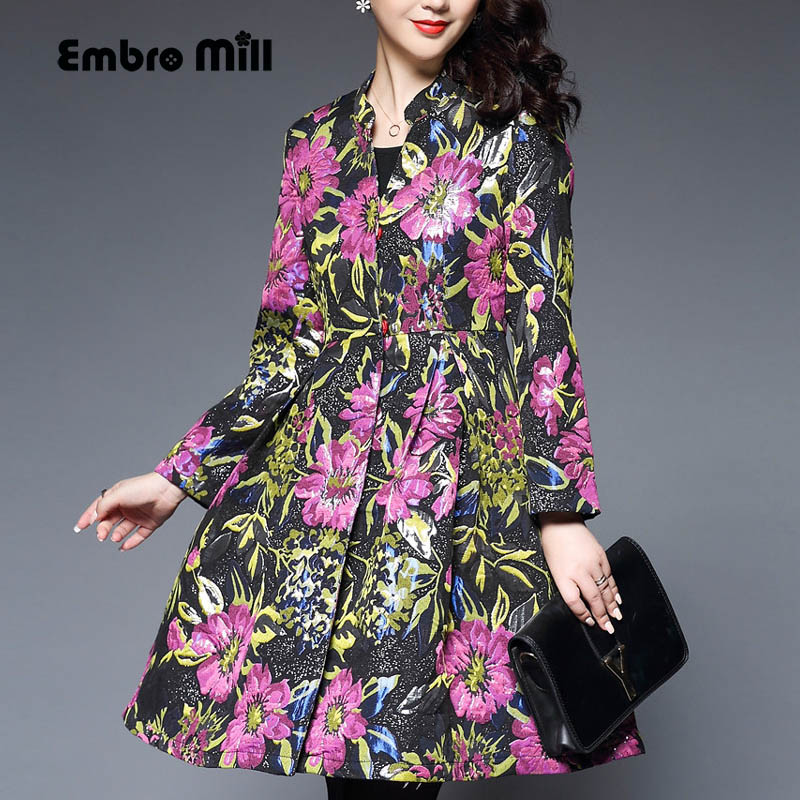 Casual-womens-clothing autumn vintage women loose trench coat plus size elegant lady print floral windbreaker female S-XXXL