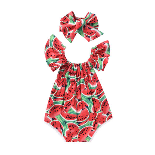 Kids Baby Girl Romper Outfit Watermelon Romper Bodysuit Headband Clothes Set kids ruffle tie neck striped romper