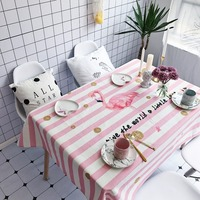 Pink Party Tablecloths Striped Table Cover Water Proof Table Cloth Pink Flamingo Printed Tablecloth Modern Table Cloth