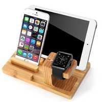 Alta Qualidade de Bambu Multifuncional Doca de Carregamento USB Telefone Tablet Mount Holder para Apple Telefone Do Relógio Titular