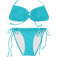 VWIWV 2017 Blue Swimsuit Split Swimming Wear Sexy Bathing Suits Push Up Bikini Halter Bikini Swimming