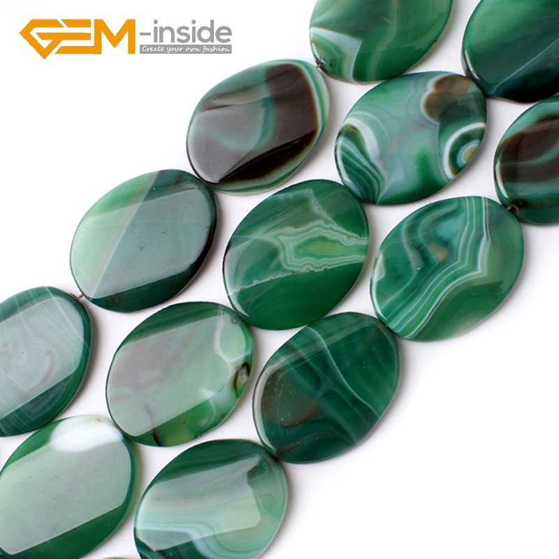 30x40mm Oval Twist Green Banded Agates Natural Stone Beads Loose Bead For Jewelry Making Strand 15 Inches DIY GEM-inside!