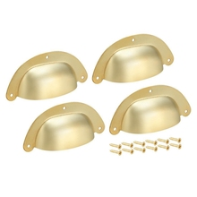 88mm Hole Centers Vintage Style Cup Shell Drawer Pull Handle Gold Tone 4pcs