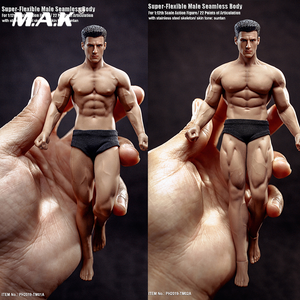 Male Figure-Model Fans Seamless-Body-Head Tbleague Mini Flexible Super-Fitness 1/12