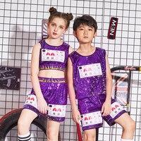 Hip hop street dance suit men and women jazz dance costume children's costumes summer sequins children's performance clothing