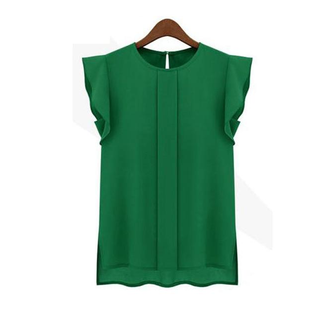New Womens Blouses Summer Short Sleeve Chiffon O-neck Ruffled Pleated Sleeve Chiffon Shirt Top Women's Tee Tops