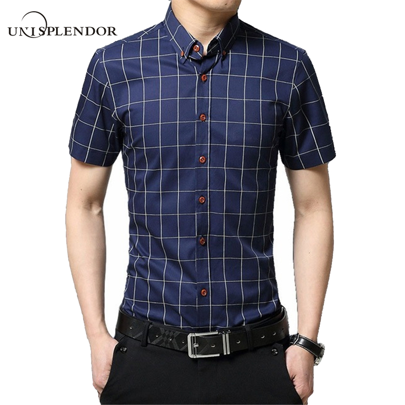 2017 new brand men casual shirts short sleeve plaid cotton for Fitted short sleeve dress shirts for men
