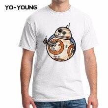 Yo-Junge Männer Sommer T-shirt Star War BB-8 Roboter Kylo Ren Digital Gedruckte 100% 180g Gekämmte Baumwolle Lustige t-shirts Für Männer