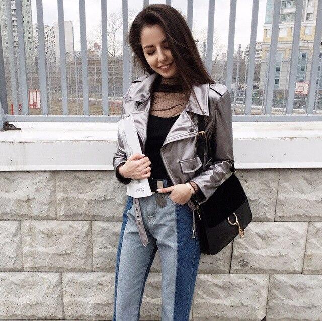 Argent Punk Noir Pu Cuir Oblique Tops Bandage Style Cultures Manteau Zipper En Revers Casual Veste Printemps Femmes Lienzy yvwqY5T85