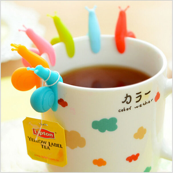 6pcs/lot Tea Bag Hanging Clips Silicone Snail Glass Label Tea Infuser Zakka Party Supplies Novelty Households Jj0022 Barware