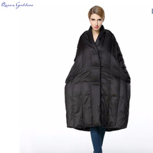 2017 high fashion asymmetrical cocoon down jacket female models in the long thick down jacket coat loose women