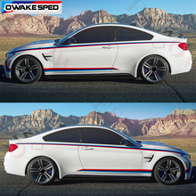 Триколор полосы производительность автомобиля линии талии стикеры боковой двери наклейка для BMW M Спорт F20 F30 F10 F23 F45 F34 F80 E90 E82 F32 F82