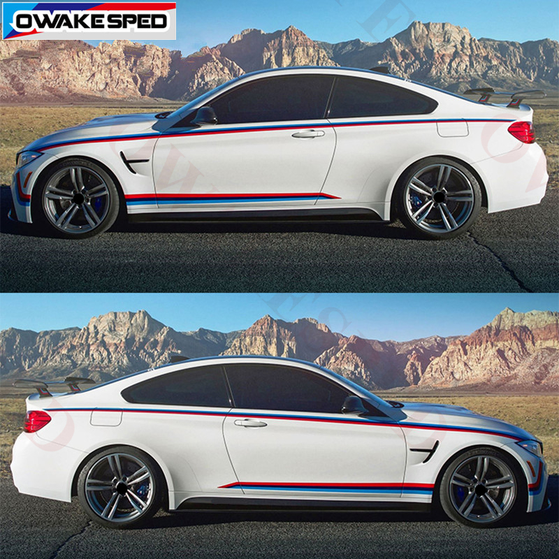 Триколор полосы производительность автомобиля линии талии стикер боковой двери наклейка для BMW M Спорт F20 F30 F10 F23 F45 F34 F80 E90 E82 F32 F82