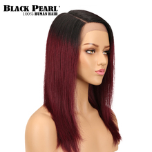 Black pearl Lace Front Human Hair Wigs Pre Plucked Hairline With Baby Straight Ombre Brazilian Remy For Wom