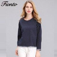FIONTO European1 Pcs Casual Women Cotton Striped T Shirt Lady Long Sleeve Tops Shirt Plus Size