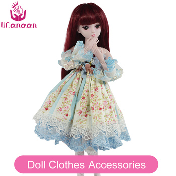 UCanaan 1/3 BJD Doll Accessories bjd Clothes Blue Bow Dress Chinese Style Clothes Set Cute Girls Mini Clothing For 60cm Dolls