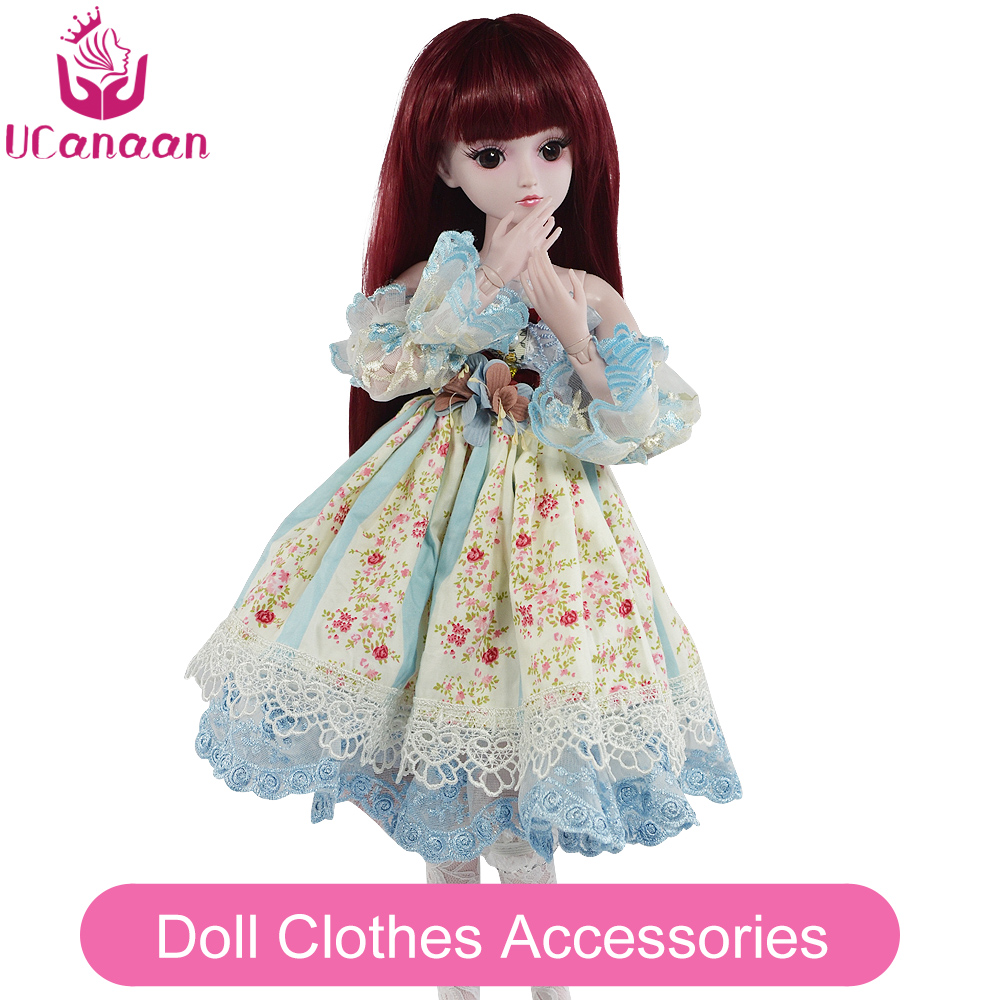 UCanaan 1/3 BJD Doll Accessories bjd Clothes Blue Bow Dress Chinese Style Clothes Set Cute Girls Mini Clothing For 60cm Dolls 1 6 bjd lack minister costume clothing bjd suit set bjd baby clothes customize