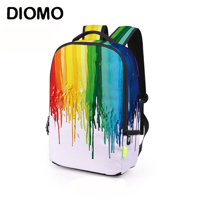 DIOMO Creative Teenager Trend 3D Splash Ink Graffiti Colorful Eye  Backpack For Men School Backpack For Boy And Girl Kids