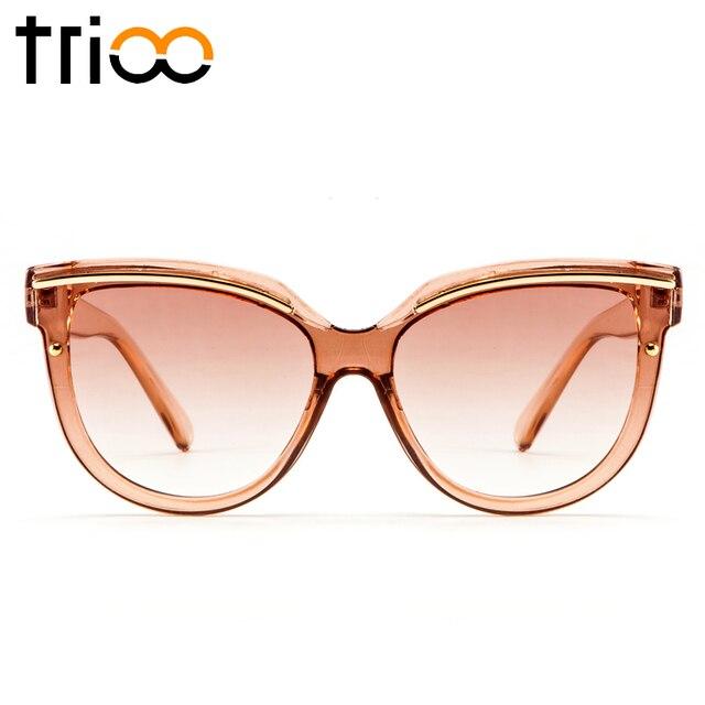 88f9564693d TRIOO 2018 High Fashion Ladies Shades Transparent Jelly Brown Color Sunglasses  Women Elegant Design Sun Glasses Female