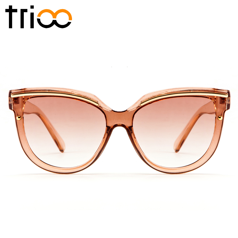 TRIOO 2018 High Fashion Ladies Shades Transparent Jelly Brown Color Sunglasses Women Elegant Design Sun Glasses Female