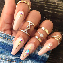 USTAR New Geometric Metal midi Rings set for women 2019 fashion Jewelry crystals engagement rings female boho Anel girl gifts