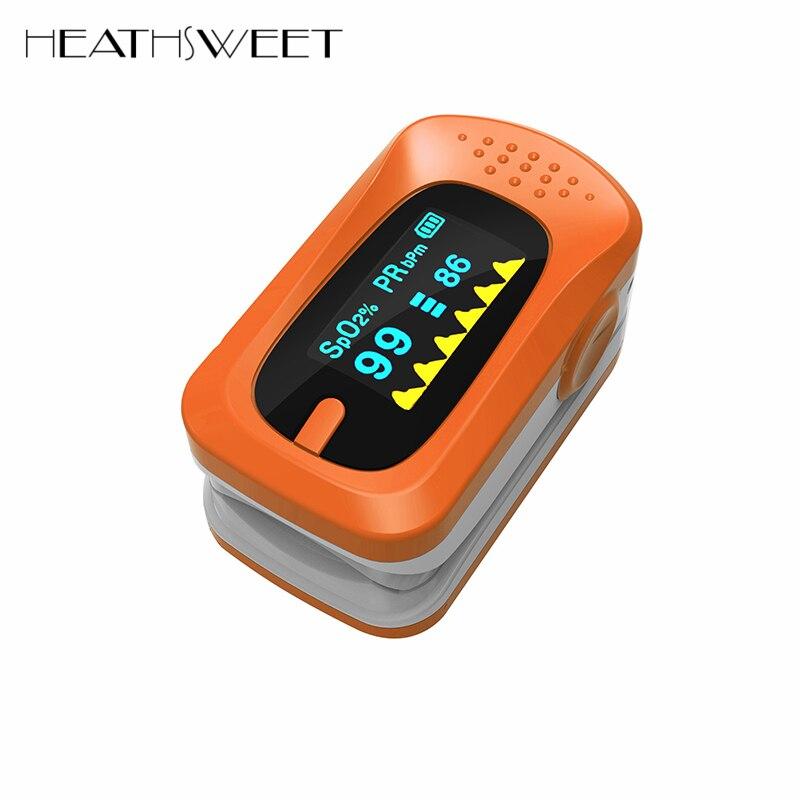Healthsweet Digital Finger Pulse Oximeter Portable Fingertip Blood Oxygen Pulse Oximeter SpO2 PR Monitor Care For Family Health