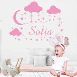 Personalized Custom Name Cloud Moon Stars Wall Sticker Vinyl Art Decals For Kids Babys Room Decoration Girls Bedroom Decor Mural