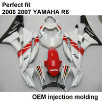 Injection molding free customize fairing kit for Yamaha white red black YZF R6 2006 2007 fairing set YZFR6 06 07 BN03