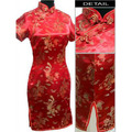 Red Chinese Traditional Bridal Wedding Cheongsam Dress Women's Silk Qipao Totem Pattern Costume Plus Size S To 6XL WC162