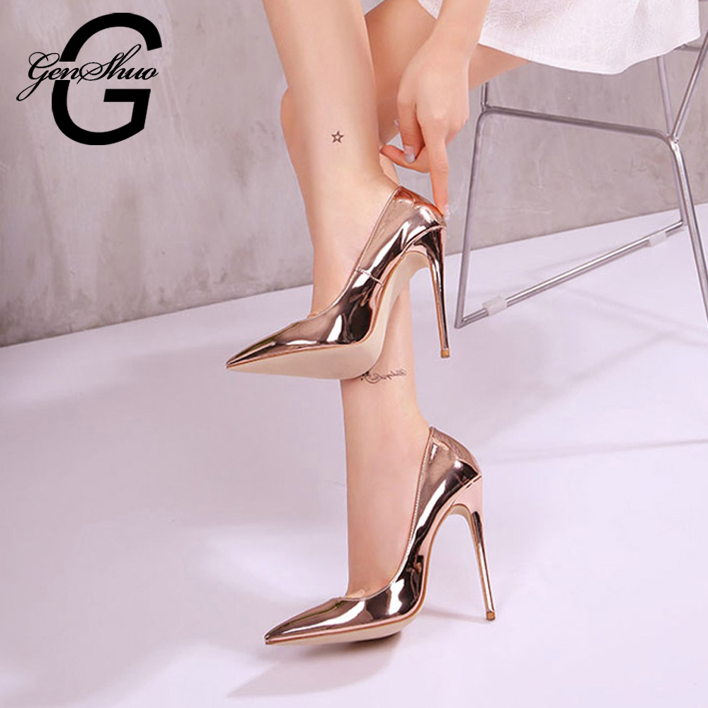 GENSHUO Women Sexy Pumps Shoes 10cm/12cm Rose Gold Pointed Toe High Heeled Shoes for Women Party Prom Metallic Pointy Toe Pumps