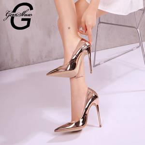 b288e6bb8e GENSHUO Sexy Gold High Heeled Shoes for Women Party Pumps