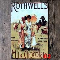 Rothwells milk chocolate tin sign crafts 20*30 cm Vintage home decor Shabby Chic Plaque Sign Home bar Pub Decoration