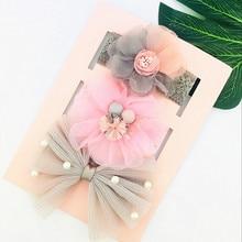 3 шт./лот; повязка на голову для маленьких девочек; эластичная повязка на голову с цветочным принтом и бантом; аксессуары для волос для маленьких девочек на день рождения