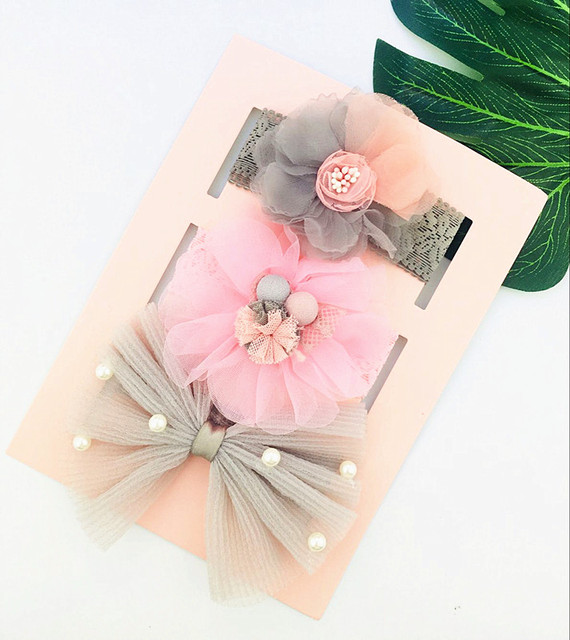 3pcs/lot baby girl headband elastic headwear floral bowknot hair accessories for baby girl birthday party