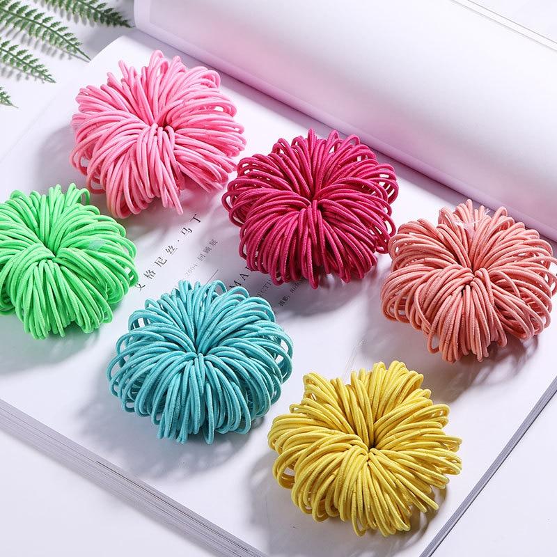 100Pcs/lot Children Flower Elastic Hair Bands Cute Headband Nylon 3CM Candy Color Kids Rubber Tie Gum Hair Accessories for Girls