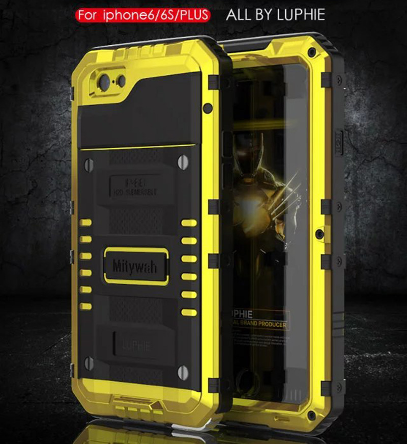 imágenes para Marca de Metal De Aluminio Armadura de Natación de Agua Caso Prueba Para el iphone 6/6 s/Plus/6 Más Caso a prueba de Choques Impermeable Bolsa De Sello bolsa