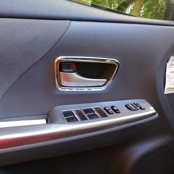 4 sztuk SUS304 ze stali nierdzewnej wewnętrzna pokrywa klamki wewnętrznej wykończenia akcesoria dla Toyota Prius Alpha V ZVW40 tanie i dobre opinie