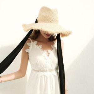Image 4 - Fait à la main 100% raphia soleil chapeaux pour femmes noir ruban à lacets grand bord chapeau de paille en plein air plage été casquettes Chapeu Feminino