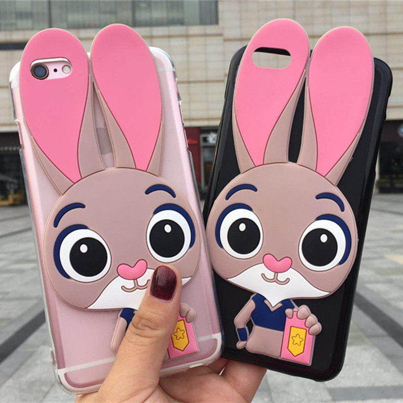 Cartoon Rabbit Phone <font><b>Cases</b></font> for <font><b>Homtom</b></font> <font><b>HT17</b></font> Pro HT27 HT30 HT7 HT37 HT16 Pink Lady Back <font><b>Cover</b></font> Protective <font><b>Case</b></font> image