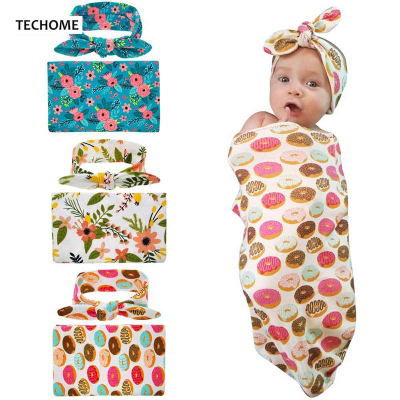 90*90cm Baby Swaddle +Sweet Headband Set Newborn Infant Wrap Cotton Baby Receiving Blanket Taking Pictures Props Bed Sheets